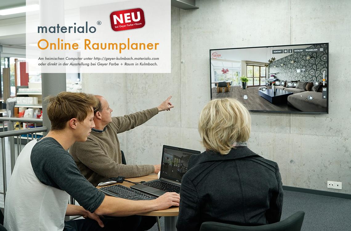 materialo Online Raumplaner, am Computer oder in der Ausstellung von Geyer in Kulmbach